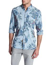 Indigo Star - Jon Long Sleeve Large Leaf Print Tailored Fit Shirt - Lyst