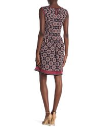 Max Studio - Pleated Patterned Dress - Lyst