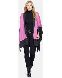 Lauren by Ralph Lauren - Two-tone Knit Poncho (plus Size) - Lyst