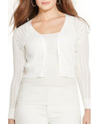 Lauren by Ralph Lauren - Pointelle Cotton V-neck Cardigan (plus Size) - Lyst