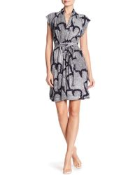 French Connection - Remi Snake Print Shawl Collar Dress - Lyst
