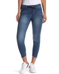 Velvet Heart - Hanna Lace-up Frayed Hem Cropped Jeans - Lyst