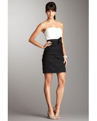 Max & Cleo - Shirred Colorblock Strapless Dress - Lyst