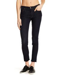 Mother - The Looker Skinny Frayed Hem Jeans - Lyst