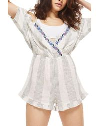 TOPSHOP - Embroidered Stripe Playsuit - Lyst