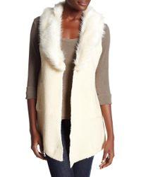 Cliche - Faux Fur Collar Sleeveless Vest - Lyst