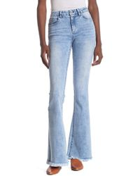 Tractr High Waisted Fray Hem Flare Jeans