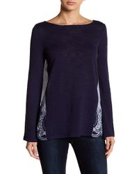 Caslon - Mixed Media Embroidered Back Blouse (petite) - Lyst