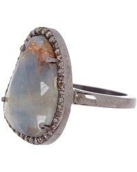 Adornia - Rose Cut Mixed Sapphire & Diamond Halo Ring - Lyst