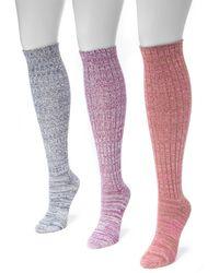 Muk Luks - Marl Knit Knee High Sock - Pack Of 3 - Lyst