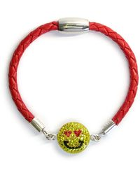 Liza Schwartz - Pave Love Struck Smiley Red Braided Leather Bracelet - Lyst