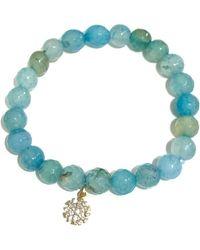 Charlene K | 14k Gold Over Sterling Silver Agate Bead & Cz Snowflake Pendant Bracelet | Lyst