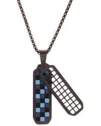 Ben Sherman - Stainless Steel Checkerboard Pendant Necklace - Lyst
