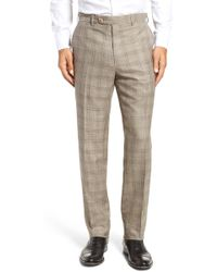 JB Britches - Flat Front Plaid Wool Blend Trousers - Lyst