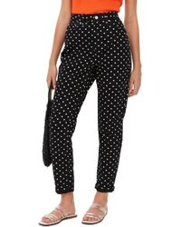 TOPSHOP - Moto Polka Dot Mom Jeans - Lyst