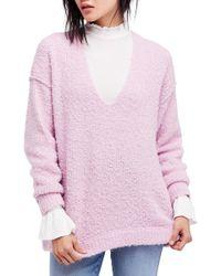 Free People - Lofty V-neck Sweater - Lyst