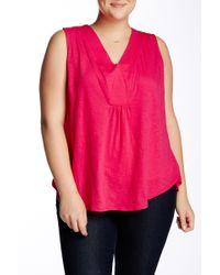 Sandra Ingrish - Sleeveless Knit V-neck Blouse (plus Size) - Lyst
