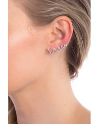 Paige Novick - 14k White Gold Ines Pave Diamond Crawler Earring - Lyst