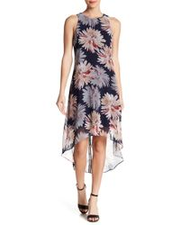 Karen Kane - Etched Lotus Hi-low Hem Dress - Lyst
