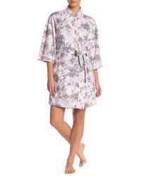 Carole Hochman Floral Print Elbow Sleeve Robe - Pink