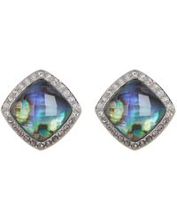 Judith Jack | Sterling Silver Pave Swarovski Marcasite & Abalone Crystal Stud Earrings | Lyst