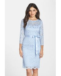 Marina - Gramercy Tiered Lace Sheath Dress - Lyst