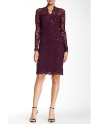 Marina - Long Sleeve V-neck Sequin Lace Dress - Lyst