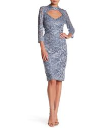 Marina - Embellished Lace Mock Neck Dress - Lyst
