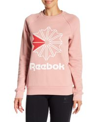 Reebok - Front Logo Starcrest Crew Neck Pullover - Lyst