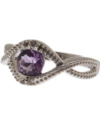 Liberty | Sterling Silver Amethyst & White Topaz Detail Cutout Ring | Lyst