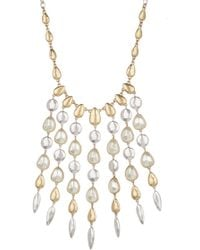 Lucky Brand - 15mm Pearl Fringe Bib Necklace - Lyst