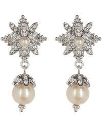 Marchesa - Silver-tone Pavé & Imitation Pearl Drop Earrings - Lyst