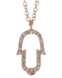 Ron Hami | 14k Rose Gold Pave Diamond Open Hamsa Hand Pendant Necklace - 0.08 Ctw | Lyst