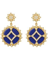 Freida Rothman - 14k Gold Plated Sterling Silver Cz Lapis Round Shield Earrings - Lyst