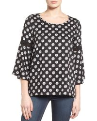 Pleione - Lace Inset Bell Sleeve Blouse (regular & Petite) - Lyst