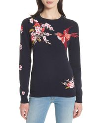 Ted Baker - Peach Blossom Embroidered Sweater - Lyst