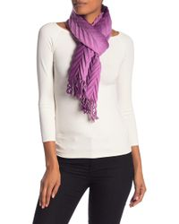 La Fiorentina - Chevron Pleated Wool & Cashmere Blend Scarf - Lyst