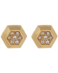 Vince Camuto - Crystal Accent Hexagon Stud Earrings - Lyst