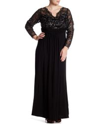 Marina - Sheer Beaded Lace Long Sleeve Gown (plus Size) - Lyst