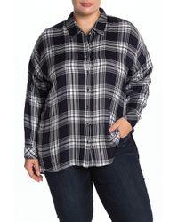 Workshop - Plaid Long Sleeve Shirt (plus Size) - Lyst