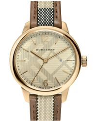Burberry - Women's Check Woven Leather Strap Watch - Lyst
