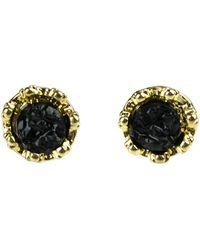 Moon & Lola - Imperial Ebony Druzy Round Stud Earrings - Lyst