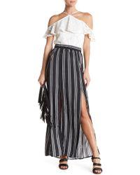 Love, Fire - Striped Front Slit Maxi Skirt - Lyst