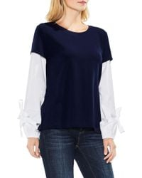 Two By Vince Camuto - Bubble Sleeve Mix Media Top (petite) - Lyst