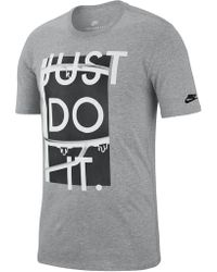 861a625eb Lyst - Nike Just Do It Brand Logo Long Sleeve Tee in Gray for Men
