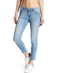 Democracy - Embellished Pearl Seamless Hem Skinny Jeans - Lyst