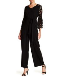 Cece by Cynthia Steffe - Lace Sleeve Crepe Jumpsuit - Lyst