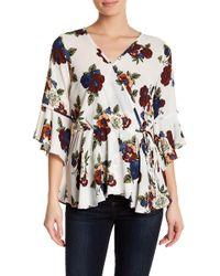 Pleione - Surplice V-neck 3/4 Length Sleeve Floral Print Blouse - Lyst