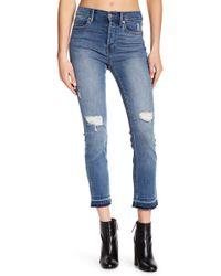 Level 99 - High Waist Slightly Distressed Denim Jeans - Lyst