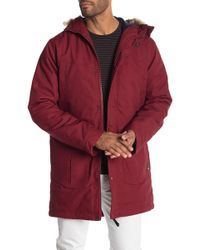 834c4de5b0b16 Lyst - Guess Men s High Ridge Layered Twill Parka With Faux-fur Hood ...